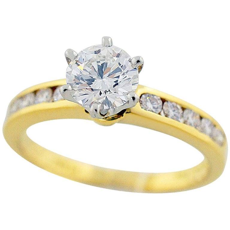 Tiffany & Co. Diamond 0.68 Carat F-IF Ring 18 Karat Yellow Gold 950 Platinum