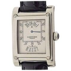 Cartier TANK A Vis LM Watch 18 Karat White Gold Leather Belt