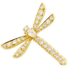 Van Cleef & Arpels Diamond Dragonfly Brooch 18 Karat Yellow Gold
