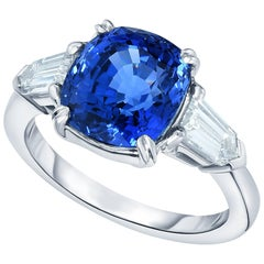 Marisa Perry Cushion Cut Sapphire Diamond Three-Stone Engagement Ring