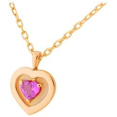 Boucheron Heart Pink Sapphire Pendant Necklace 18 Karat Pink Gold