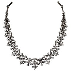 French Victorian 12.20 Carat Diamond Antique Necklace