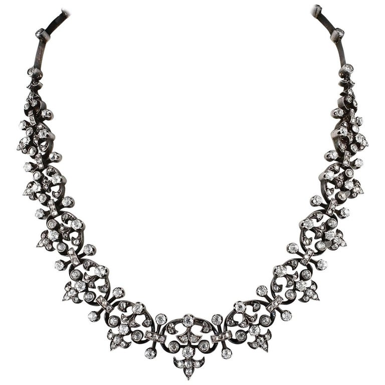 French Victorian 12.20 Carat Diamond Antique Necklace For Sale
