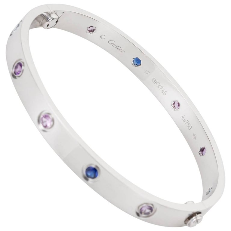 Cartier Multi-Gem Set Love Bangle 18 Karat White Gold For Sale