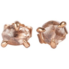 1.92 Carat Champagne Rough Diamonds in Rose Gold Stud Earrings