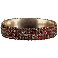 Antique Victorian Bohemian Garnet Gold Bangle, circa 1900