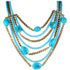 Natural Turquoise 18 Karat Multi Strand Necklace and Bracelet Set