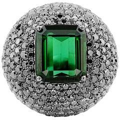 White Gold Black 4.70 ct Diamonds and Green 6.00 ct Tourmaline Ring
