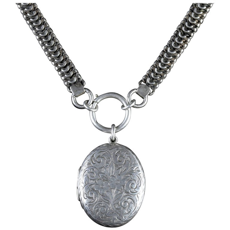 Antique Victorian Sterling Silver Locket Collar, circa 1900