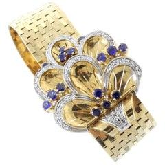 18 Karat Rose Gold, Diamonds and Sapphire Bracelet