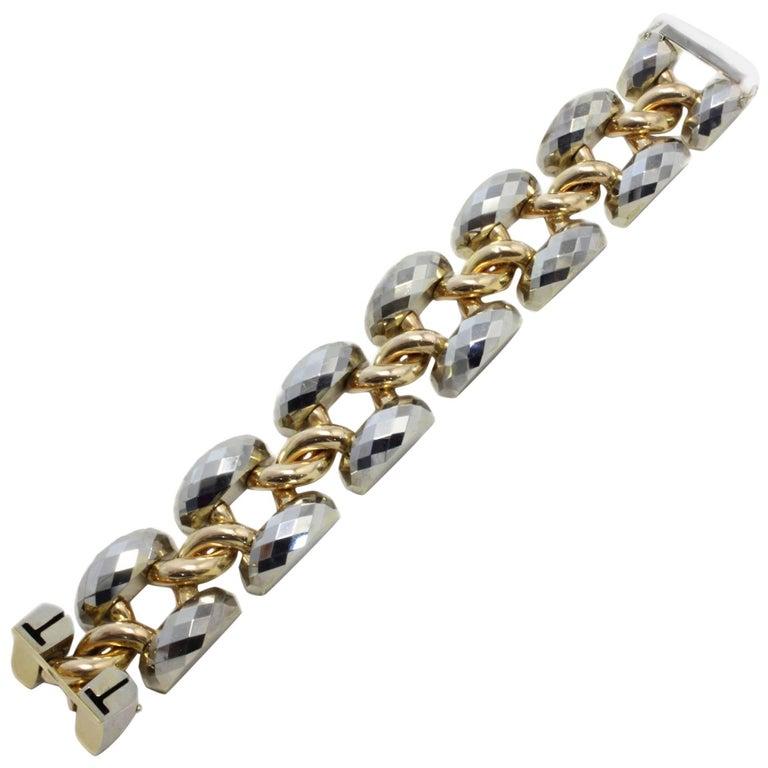 White Gold Rose Gold Big Link Bracelet