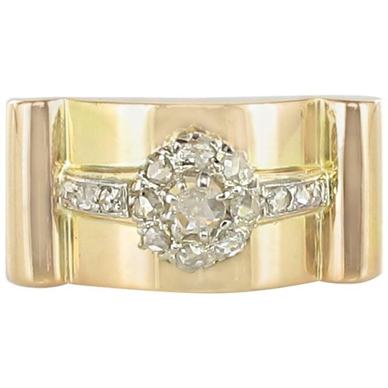 1950s French Flower Rose Cut Diamond Yellow Gold Tank Ring