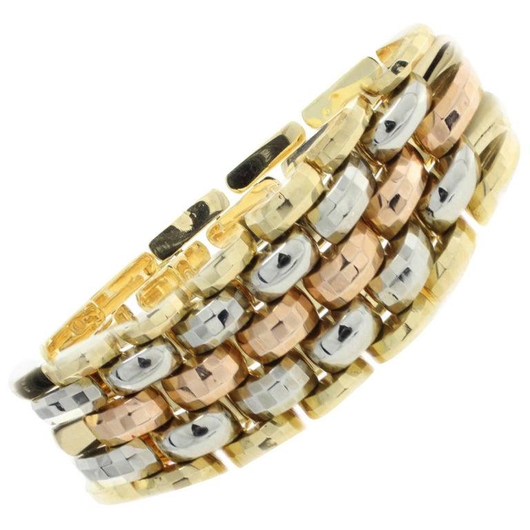 Yellow Gold White Rose Bracelet