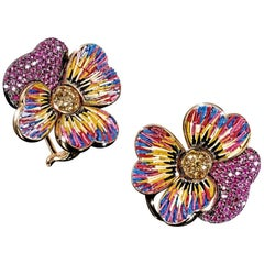 Stylish Earrings Pink & Yellow Sapphires Yellow Gold Hand Decorated Micromosaic