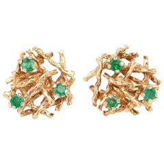 Pair of Emerald Modernist Earrings