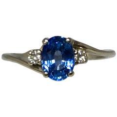 IF Ceylon Blue Sapphire and Diamond Three-Stone White Gold Ring 1.16 Carat