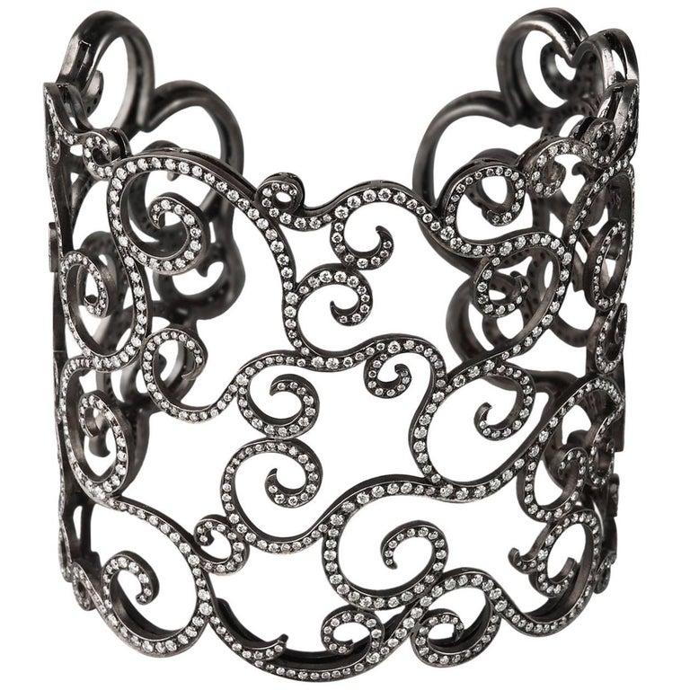 Rhodium Titanium Valadier Cuff Bracelet, Round Diamonds