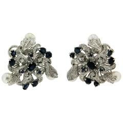 Sapphires White Gold 18 karat Diamonds Pearls Earrings