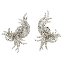 Diamonds Baguette Platinum Clip Earrings