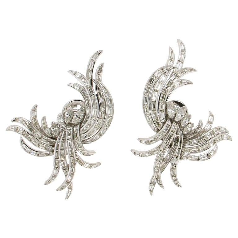Diamonds Baguette Platinum Clip Earrings
