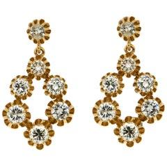 Old Diamonds Yellow Gold Drop Earrings