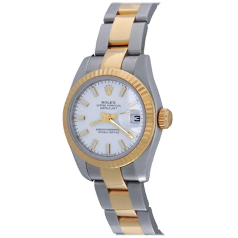 Rolex Ladies Datejust 18 Karat Yellow Gold and Stainless Steel Ref 179173