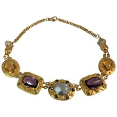 18 Karat Yellow Gold Textured Multi-Color Faceted Semi Precious Stone Necklace