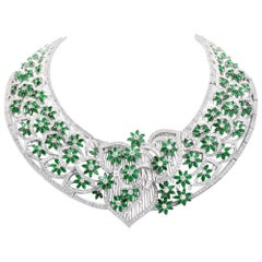Handcrafted Diamond Emerald 18 Karat Gold Collar Necklace