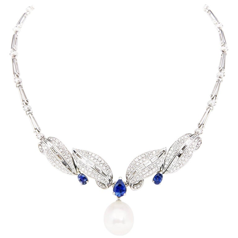 Ella Gafter Blue Sapphire Diamond and South Sea Pearl White Gold Necklace