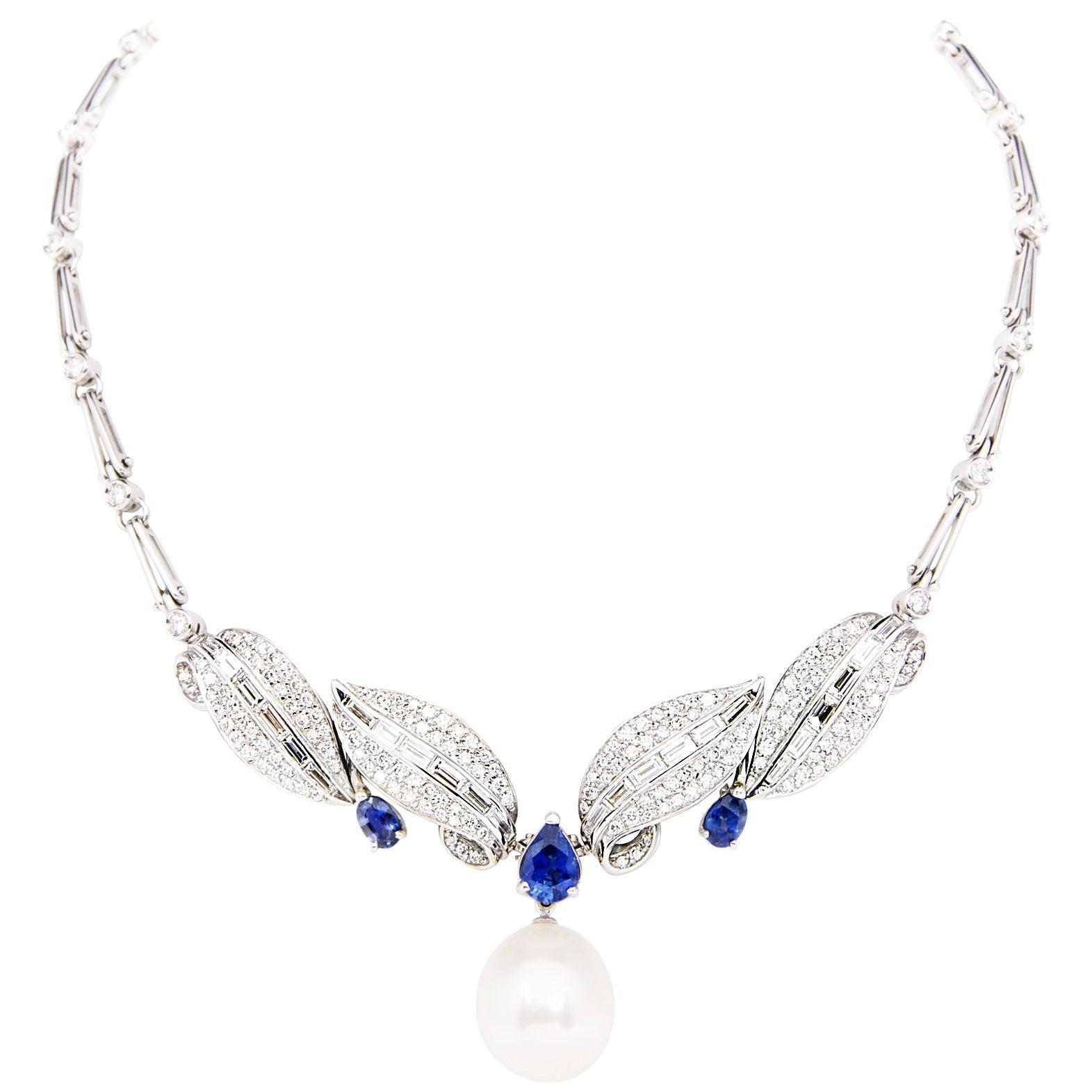 Ella Gafter Blue Sapphire Diamond Necklace