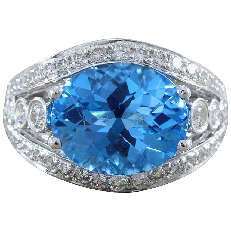 Neil Joseph Blue Topaz Diamond Gold Ring