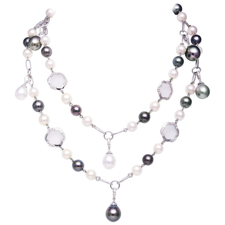Ella Gafter South Sea Tahitian Pearl Diamond Chain Necklace