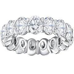 18 Karat White Gold Eternity Band Set with 7.85 Carat Oval Cut Diamonds
