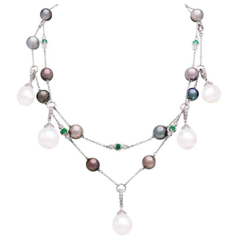 Ella Gafter White Pearl Tahitian Diamond Emerald Chain Necklace