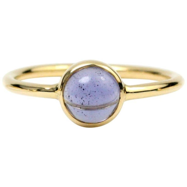 Julius Cohen Gold and Cabochon Iolite Ring For Sale