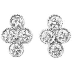 Julius Cohen Platinum and Diamond Town Earrings