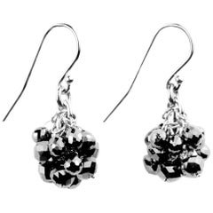 Julius Cohen White Gold and Black Diamond Pom Pom Earrings