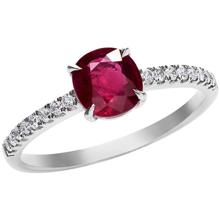 Cushion Cut Ruby Diamond Gold Engagement Ring For Sale