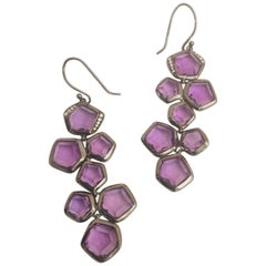 Ippolita Blackened Sterling Silver Amethyst and Diamond Dangle Earrings
