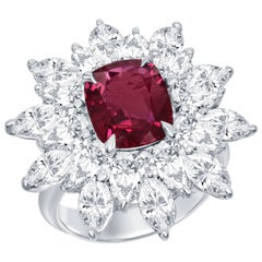 GRS Certified 2.76 Carat Red Ruby Diamond Platinum Cocktail Ring