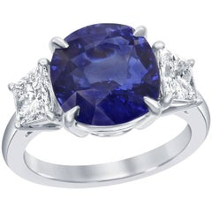 6.15 Carat Blue Sapphire Diamond Platinum Three-Stone Engagement Ring