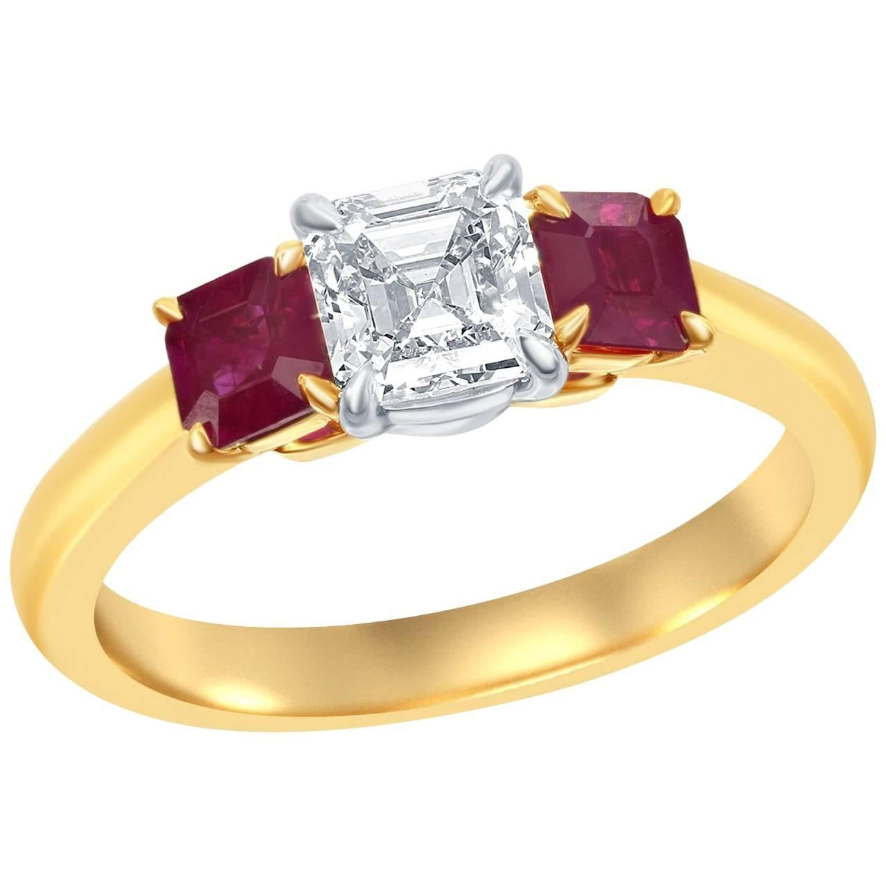 Ruby Diamond Three-Stone Engagement Ring
