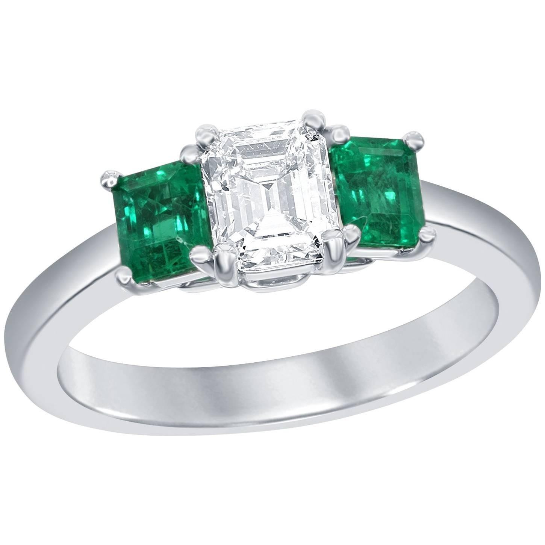 GIA Certified Asscher Cut Diamond Emerald Three-Stone Engagement Ring