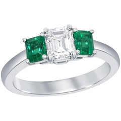 GIA Certified Asscher Cut Diamond Emerald Three-Stone Engagement Ring