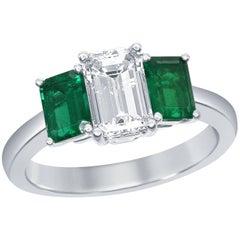 Emerald Diamond Three-Stone Engagement Ring