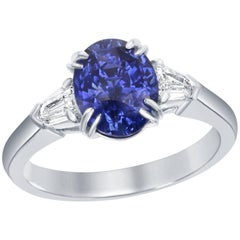 GIA Certified 2.38 Carat No-Heat Blue Sapphire Diamond Three-Stone Ring