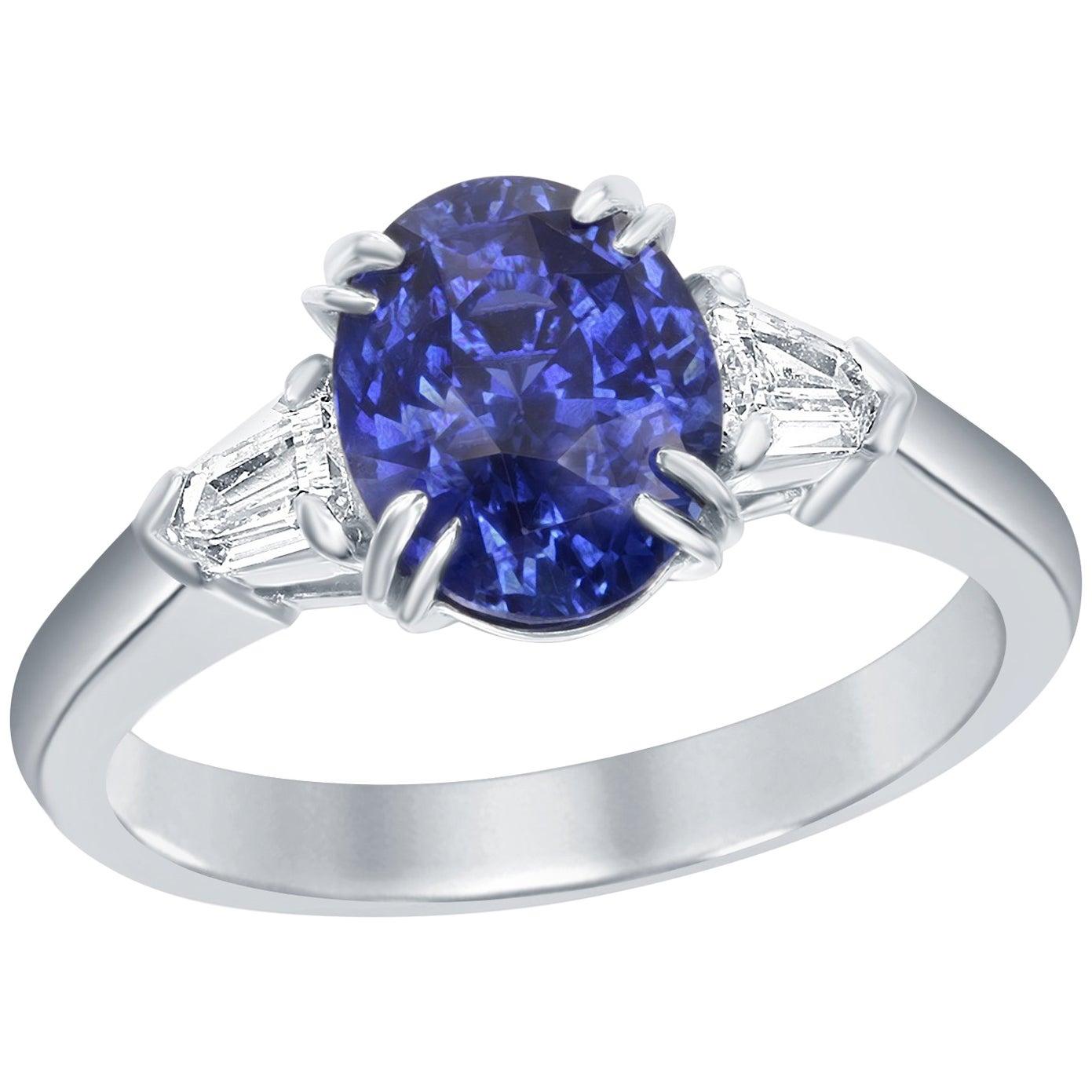 GIA Certified 2.38 Carat No-Heat Blue Sapphire Diamond Three-Stone Ring