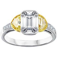 Platinum 2.00 Carat Emerald Cut Engagement Ring with Two Half Moon Diamonds