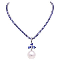 Ella Gafter Blue Sapphire Diamond and South Sea Pearl Gold Pendant Necklace