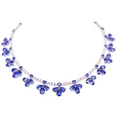 Ella Gafter Blue Sapphire and Diamond Flower White Gold Choker Necklace
